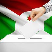 image of burundi  - Ballot box with national flag on background series  - JPG