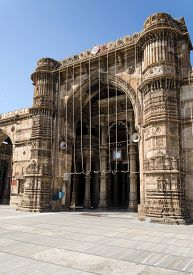 stock photo of saracen  - Jama masjid mosque landmark in Ahmedabad, India ** Note: Soft Focus at 100%, best at smaller sizes - JPG