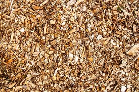 stock photo of combustion  - Wooden chips for combustion in a biomass firing plant - JPG
