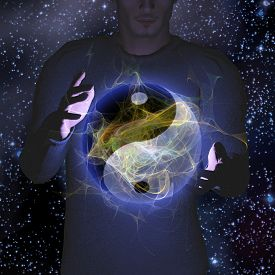 stock photo of yin  - Yin Yang Star man - JPG