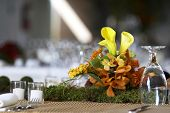 stock photo of wedding table decor  - table setting for a wedding or dinner event - JPG