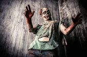 ������, ������: Scary bloody zombie man in the old house Horror Halloween