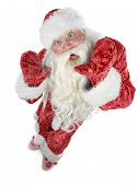 picture of contortion  - Santa Claus contorts funny mug on a white background - JPG
