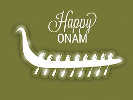 picture of onam festival  - illustration of Happy Onam background with boat - JPG