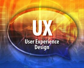 pic of experiments  - Speech bubble illustration of information technology acronym abbreviation term definition UX User Experience Design - JPG
