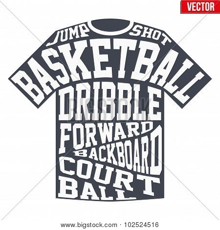 T Shirt Sports Symbols Of Basketball With Typography Poster Id102524516
