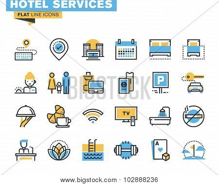 Постер, плакат: Flat line icons set of hotel service facilities, холст на подрамнике