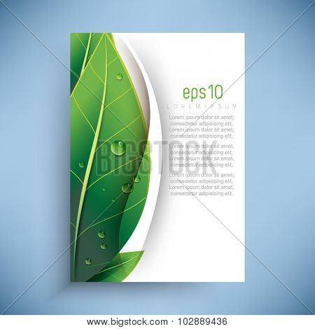 Overlapping Green Leaves With Dew Drops Nature Ecology Background Design Poster