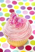Pink Cupcake With Butterfly