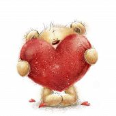 Teddy bear with the big red heart.Valentines greeting card. Love design.Love.I love You card. Love p poster