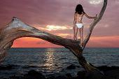 Woman In Bikini Watching Sunset