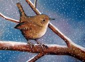 Oil Pastel Painting of Wren in Snow