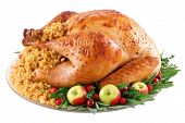 stock photo of turkey dinner  - roast turkey with cornbread stuffing herbs and fruits on a platter - JPG