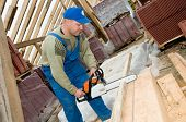 Roofing Works With Portable Saw