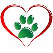 picture of paw-print  - Illustration paws and hearts as a symbol of love for animals - JPG