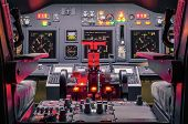 Постер, плакат: Cockpit Of Homemade Flight Simulator Concept Of Aerospace Industry Development Flying Sim School