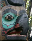 stock photo of tlingit  - a totem pole in pioneer square in seattle washington - JPG