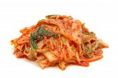 image of kimchi  - korean cabbage kimchi in isolated white background - JPG