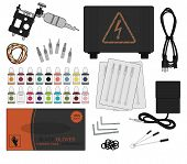 Постер, плакат: Tattoo equipment set Color