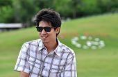 Asia Thailand Man Sit Smile  Sunglasses