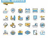 Постер, плакат: Flat line icons set of hotel service facilities