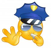 foto of bobbies  - Vector emoticon design of a Policeman making a stop sign - JPG