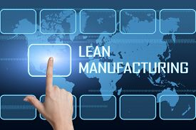 picture of waste reduction  - Lean Manufacturing concept with interface and world map on blue background - JPG