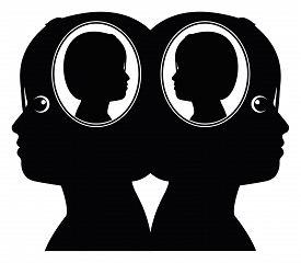 stock photo of genes  - Concept sign of two girls sharing the same genes - JPG
