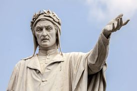 foto of alighieri  - Statue of the poet Dante Alighieri at the Piazza Dante in Naples Italy sculpted by Tito Angelini in the 19th century - JPG