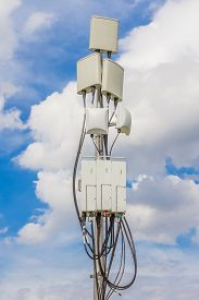foto of antenna  - temporary micro cellular site with outdoor wifi antenna - JPG