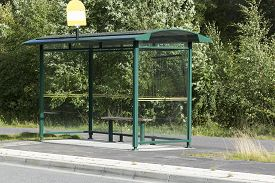picture of bus-shelter  - A bus stop with a shelter and some bushes behind it - JPG