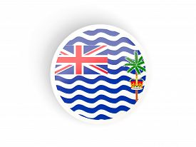 image of indian flag  - Round sticker with flag of british indian ocean territory isolated on white - JPG