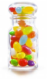 picture of jar jelly  - Colorful sweet Jelly Beans in the Jar. Isolated on white background. - JPG