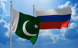 stock photo of pakistani flag  - Flags from Pakistan and Russia flying side by side for important talks - JPG