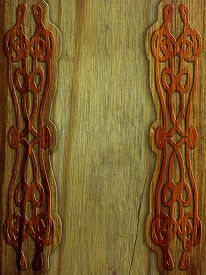 stock photo of celtic  - wood background with celtic pattern  - JPG