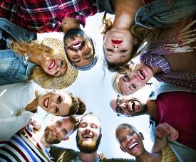 image of huddle  - Friends Huddle Join Holiday Party Group Concept - JPG