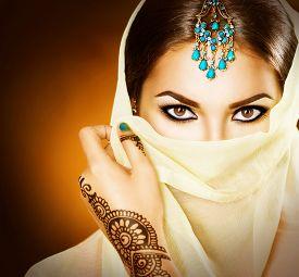 stock photo of mehndi  - Beautiful Arabian girl portrait - JPG