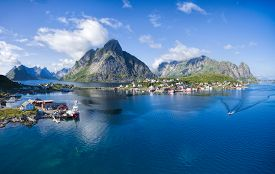 stock photo of reining  - Aerial panorama of Reine scenic village on Lofoten islands in Norway - JPG