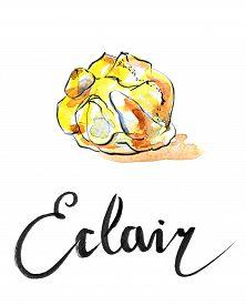 stock photo of eclairs  - Watercolor sweet eclair - JPG