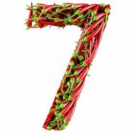 image of number 7  - Number 7 made from red pepper - JPG