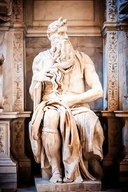 stock photo of prophets  - Sculpture of the prophet Moses made by the famous artist Michelangelo in the church of San Pietro in Vincoli in Rome Italy - JPG