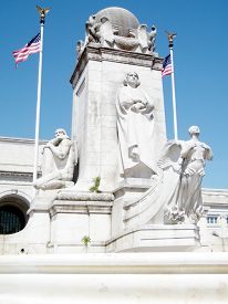 stock photo of amtrak  - The Columbus Memorial on Columbus Circle in Washington DC USA - JPG