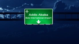 image of ethiopia  - Addis Ababa Ethiopia Airport Highway Road Sign at Night 3D Illustration - JPG