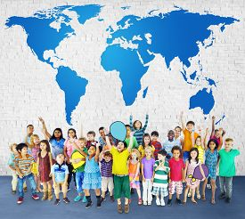 stock photo of globalization  - Global Globalization World Map Environmental Conservation Concept - JPG