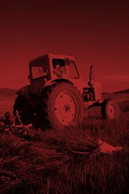 pic of mongolian  - Mongolian Farmer Driving Tractor Field Agricultural Concept - JPG