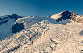 foto of rosa  - Panorama of mountain glacier at sunset - JPG