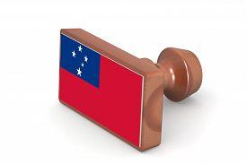 image of samoa  - Wooden stamp with Samoa flag image with hi - JPG