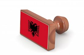 image of albania  - Blank wooden stamp with Albania flag image with hi - JPG