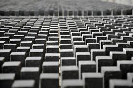 picture of parallelepiped  - Many identical gray rectangular shapes in perspective - JPG