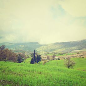 stock photo of apennines  - Farmhouse on the Slopes of the Apennines Italy Instagram Effect - JPG